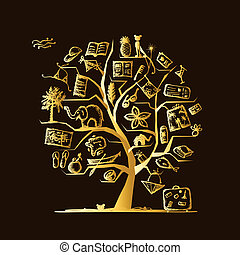 дизайн, путешествовать, концепция, дерево, ваш