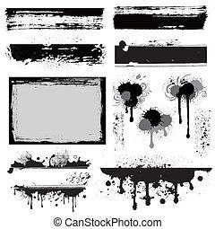 дизайн, элемент, гранж, чернила