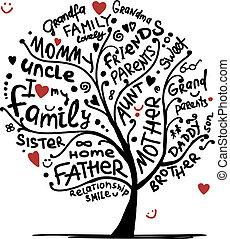 дизайн, эскиз, дерево, ваш, семья