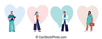 дизайн, doctors, концепция, -, сердце, группа, nurses, professionals, задний план, медицинская
