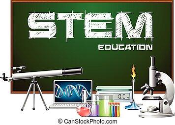 дизайн, equipments, наука, плакат, стебель, образование