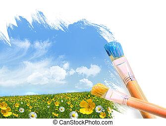дикий, цветы, полный, картина, поле