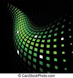 динамический, абстрактные, зеленый, задний план