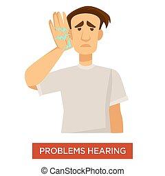 дисфункция, глухой, слух, лечение, проблема, ухо, человек