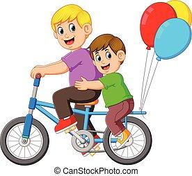 дитя, верховая езда, отец, счастливый, велосипед