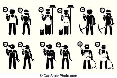 добыча, мобильный, строительство, workers, jobs., их, builders, с помощью, промышленные, приложение