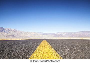 долина, usa, закат солнца, к, калифорния, смерть, mountains, шоссе