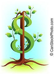 доллар, дерево