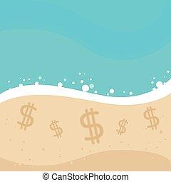 доллар, песок, пляж, офшор, знак