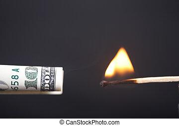 доллар, сжигание