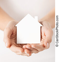 дом, белый, бумага, держа, руки