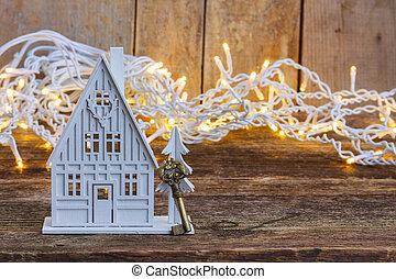 дом, белый, рождество