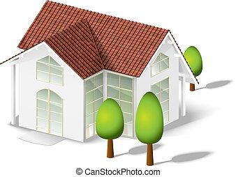 дом, белый, isolated