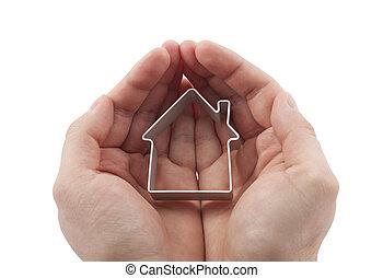 дом, белый, isolated, руки