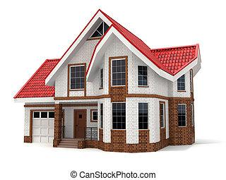 дом, белый, three-dimensional, image., background.
