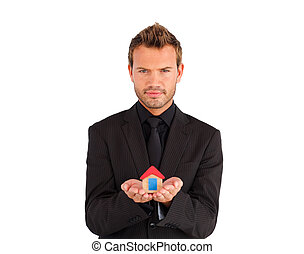 дом, бизнесмен, молодой, presenting, образец