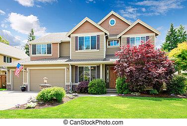 дом, большой, американская, бежевый, фронт, exterior., роскошь