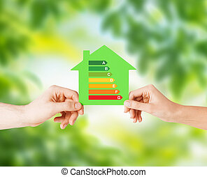 дом, бумага, зеленый, держа, руки