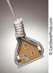 дом, вверх, tied, аркан, подвешивание