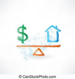 дом, деньги, баланс, гранж, значок