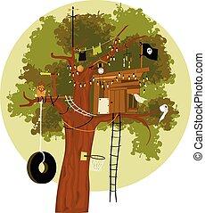 дом, дерево