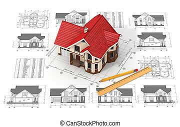 дом, другой, projections, drafts, blueprints.