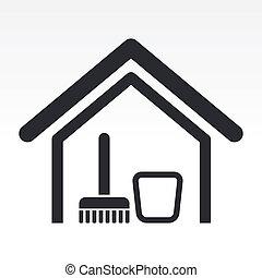 дом, иллюстрация, isolated, один, значок, вектор, чистый