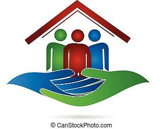 дом, логотип, защита, семья, руки