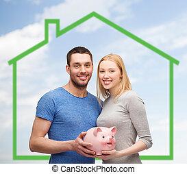 дом, над, зеленый, поросенок, держа, улыбается, пара, банка
