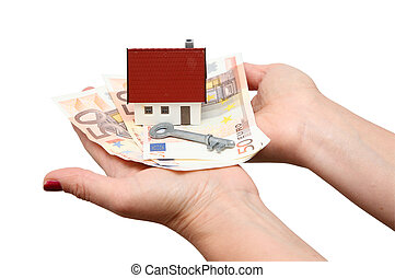 дом, над, isolated, ключ, деньги, белый
