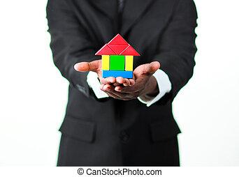 дом, образец, presenting, бизнесмен, крупный план