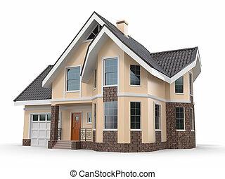 дом, образ, белый, three-dimensional, background.