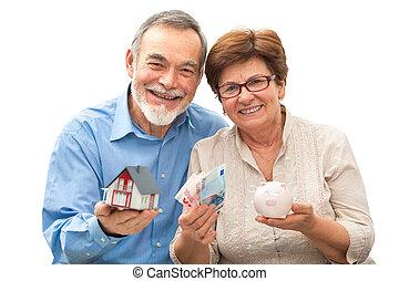 дом, пара, поросенок, держа, старшая, модель, банка