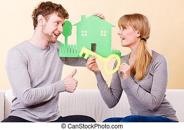 дом, пара, cutouts., ключ, держа