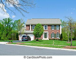 дом, пригородный, фронт, один, семья, мэриленд, кирпич