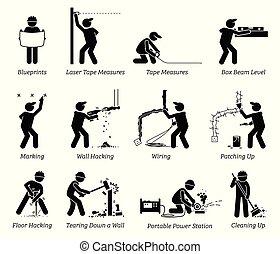 дом, ремонт, строительство, icons., улучшение