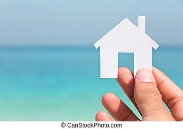 дом, рука, держа, значок