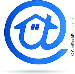 дом, символ, -, идея, логотип, эл. адрес