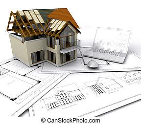 дом, строительство, под