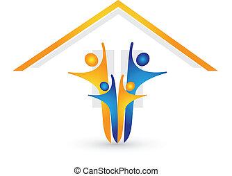 дом, счастливый, логотип, семья, вектор