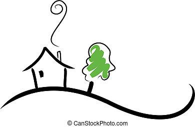 дом, холм