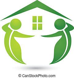 дом, экологический, leafs, логотип
