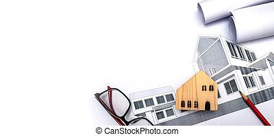 дом, architect's, строительство, стол письменный, крошечный, имущество, модель, -, реальный, концепция, здание, имущество, архитектура