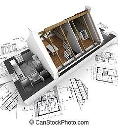 дом, blueprints, модель, архитектор, бездомный