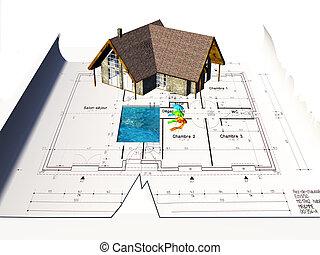 дом, blueprints, сидящий