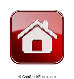 дом, isolated, задний план, белый, значок, красный