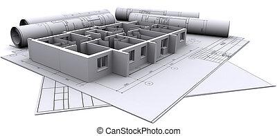 дом, walls, строительство, построен, drawings