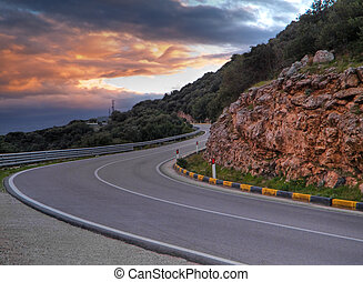 дорога, гора, sunset.