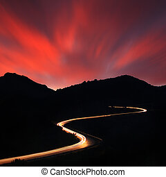 дорога, ночь