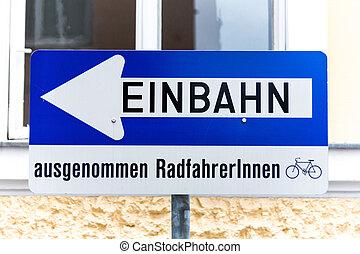 дорога, один, дополнительный, путь, знак